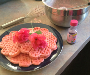 flowers, pink, and waffles image