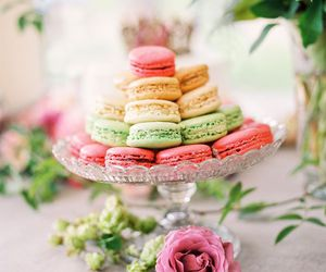 macarons, sweet, and flowers image