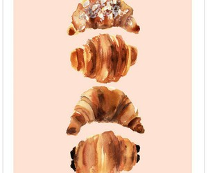 art, croissant, and food image