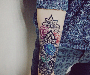 arm, flowers, and girly image