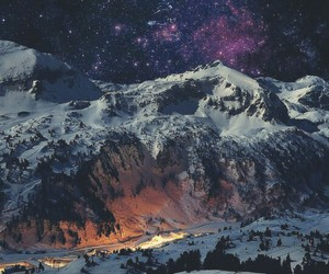 mountain, scenery, and galaxy image