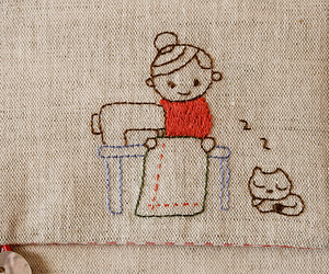 cat, girl, and sewing image