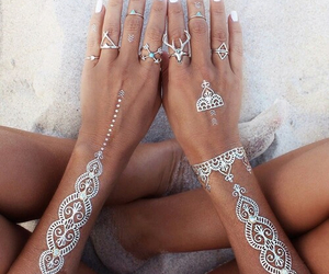 beach, rings, and sand image