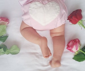 baby, flowers, and pink image