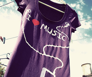 music, purple, and shirt image
