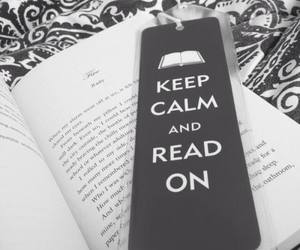 black and white, book, and keep calm image
