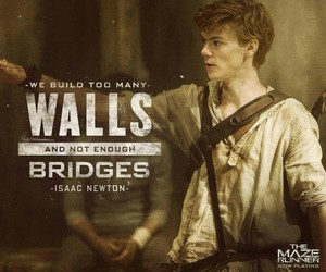 newt, the maze runner, and isaac newton image