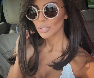 brunette, sunglasses, and tanned image