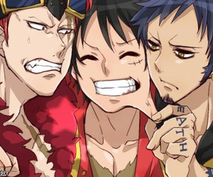 one piece, luffy, and eustass kid image