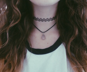 choker, hair, and grunge image