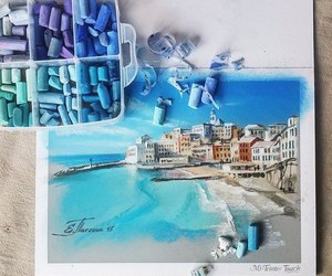 art, beach, and blue image