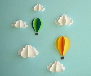 clouds, balloons, and Paper image