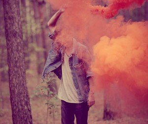 boy, orange, and smoke image