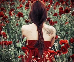girl, tattoo, and red image