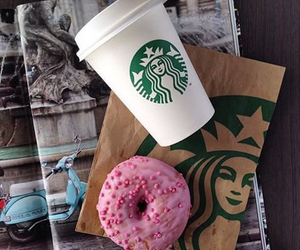 starbucks, coffee, and donuts image