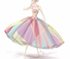 dress, fashion, and sketch image