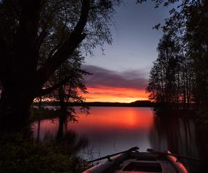 boat, lake, and sunset image