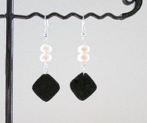 black and white, earrings, and handmade image