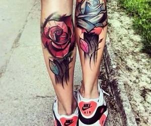 tattoo, rose, and nike image