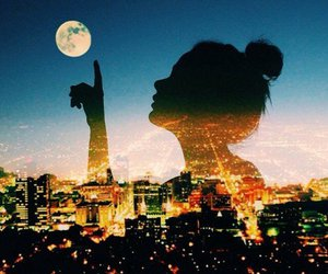 girl, moon, and city image