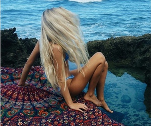 girls, ocean, and surf image