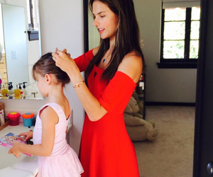 alessandra ambrosio child and mother cute red dress image