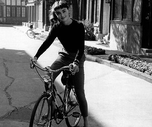 audrey hepburn, black and white, and bike image