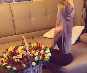 blonde, girl, and roses image