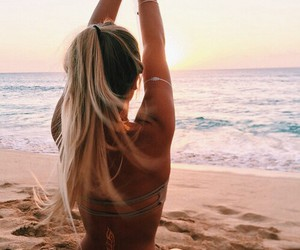 beach, blonde, and fitness image
