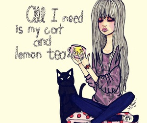 cat, girl, and tea image