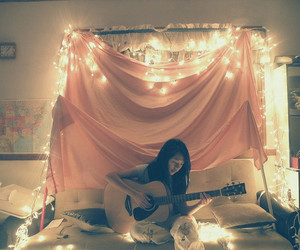 girl, light, and guitar image