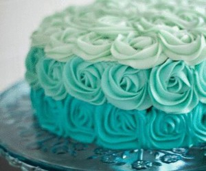 cake, blue, and rose image