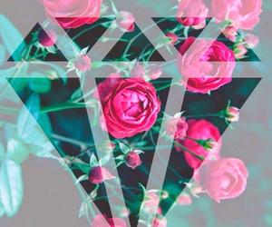 diamond, flowers, and wallpaper image
