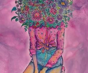 daisy, flowers, and girl image