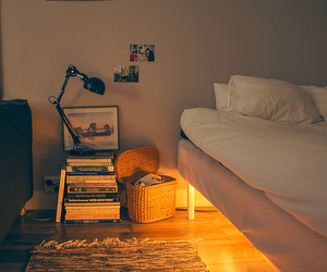 bed, lights, and boho image