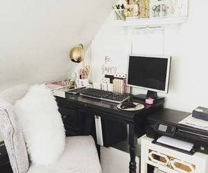 white chairs, gold lamps, and cute office image
