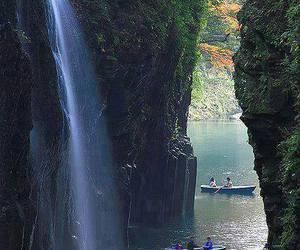 japan, nature, and waterfall image