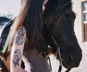 girl, tattoo, and horse image
