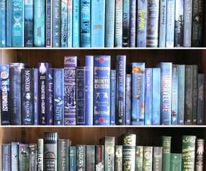 book, blue, and library image