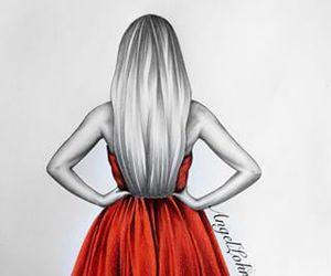 dress, girl, and drawing image