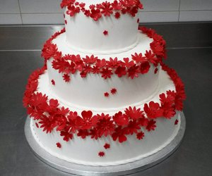 cake, red, and white image