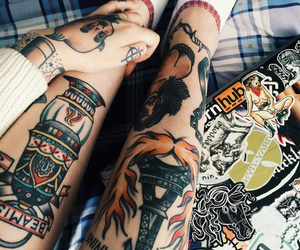 tattoo, legs, and ink image