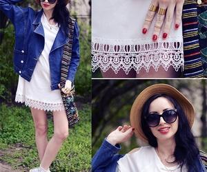 boho, dress, and jeans jacket image