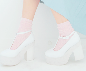 white, heels, and pink image