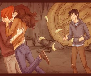 harry potter, Hermione and Ron, and kiss image