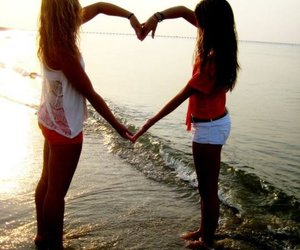 heart, friends, and beach image