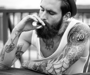 beard, hot guys, and cigarette image