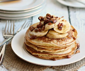 banana, pancakes, and tasty image