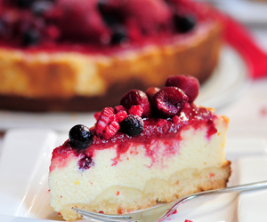cake, cheesecake, and blueberry image