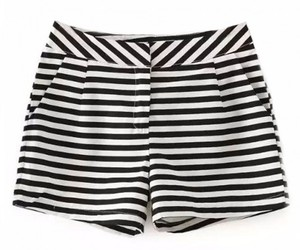 black & white, shorts, and striped image